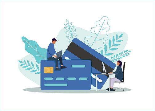 Debit or credit card payment, business concept. Vector flat style illustration of man and woman in front of a Credit card. Online payment concept.