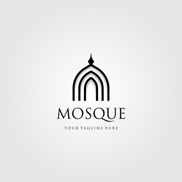 mosque logo vector simple luxury icon illustration design