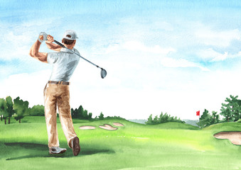 Man Playing Golf on Beautiful golf course with green field with a rich turf, Hand drawn watercolor illustration and background
