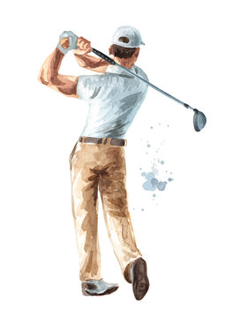 Golfer hitting ball with club. Hand drawn watercolor illustration, isolated on white background