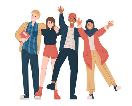 Group of multicultural students. Happy young students in casual clothes embracing each other, waving hands