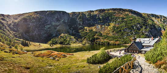 Fototapeta Karpacz, Lower Silesia / Poland - 22.09.2019: The Small Pond at Karkonosze Mountains/Giant Mountains/Poland obraz