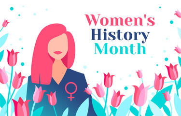 Women's History Month is celebrated in March. Beautiful women with female symbol and tulips. Women are granted rights. Women's History Month is celebrated in the US, UK, Australia and Canada.