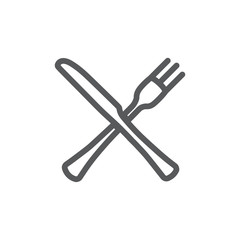 Fork and knife line icon on white background