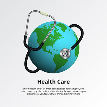 World health day. Healthcare medical illustration concept. Stethoscope with earth globe
