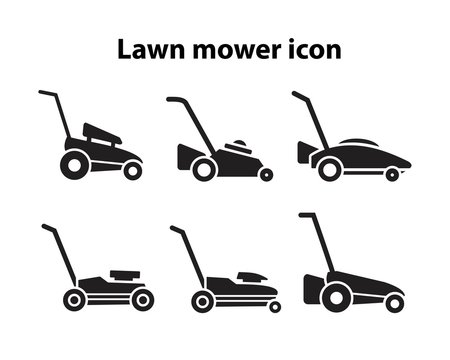 Lawn mower icon template black color editable. Lawn mower icon symbol Flat vector illustration for graphic and web design.