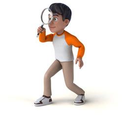 Fun 3D cartoon Asian teenager .