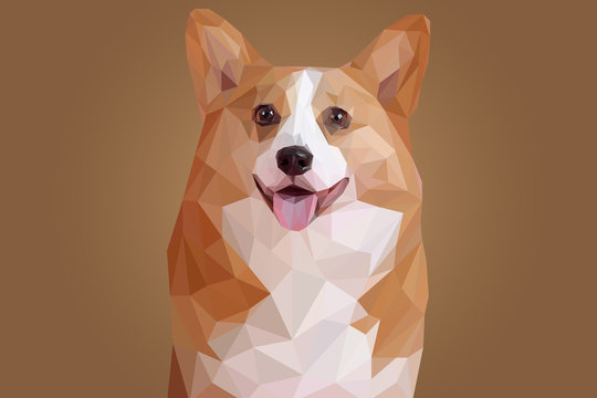 Brown Puppy Head in Lowpoly Illustration
