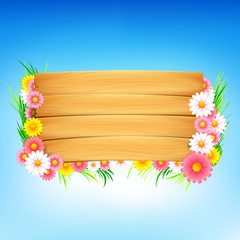 Colorful flower and wooden spring background 001