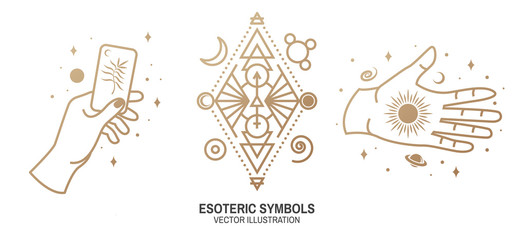 Esoteric symbols. Vector. Thin line geometric badge. Outline icon for alchemy or sacred geometry. Mystic and magic design with magic card, sun, hand, stars, planets and moon.