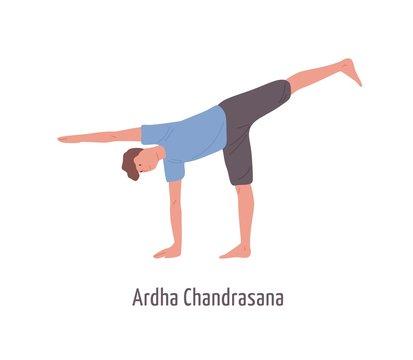 Cartoon male demonstrating ardha chandrasana pose isolated on white. Yogi man standing in Half Moon position vector flat illustration. Active character practicing yoga exercise gymnastics training