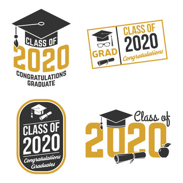 Set of Vector Class of 2020 badges. Concept for shirt, print, seal, overlay, stamp, greeting, invitation card. Typography design- stock vector.