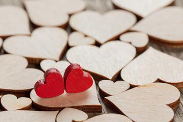 In de dag Hoogte schaal Wooden hearts background