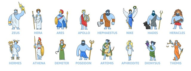 Pantheon of ancient Greek gods, Ancient Greece mythology. Set of cartoon characters with names. Flat vector illustration, isolated on white background. Fotomurales