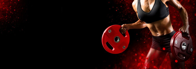 Sporty woman workout with disc barbell. Sports banner