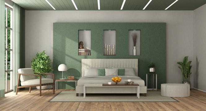 White and green elegant master bedroom