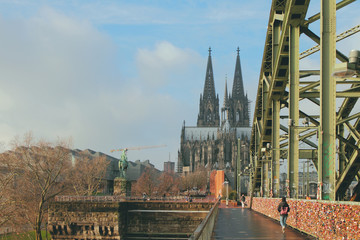 View of cathedral from bridge. Cologne, Germany
