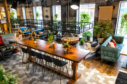 Interior of modern loft style restaurant