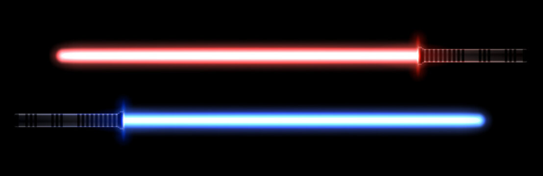 Blue and red light swords for the fights during the wars in the stars. Melee laser weapon for the close combats.