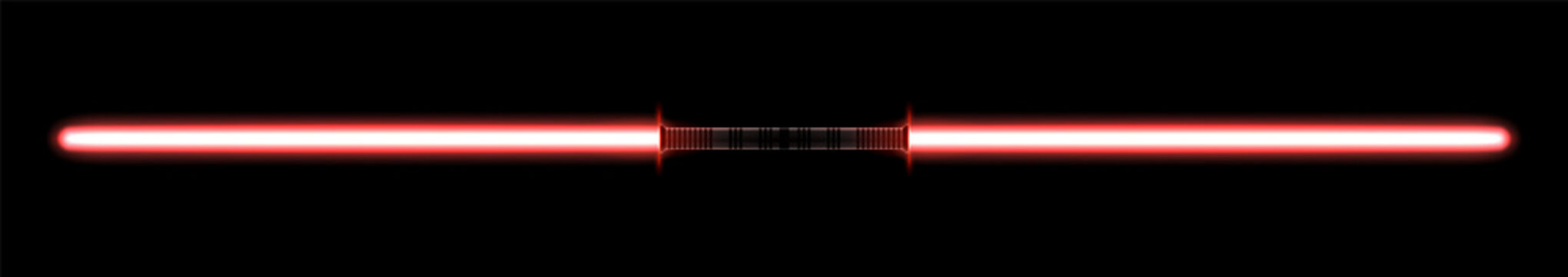 Isolated red double bladed light sword. 2-sided laser melee weapon for the fight during the futuristic wars