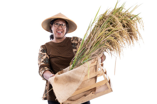 asian farmer with batik isolated over white background smile