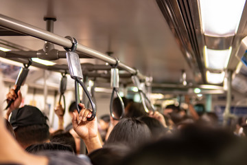 Crowd inside the train in rush hour