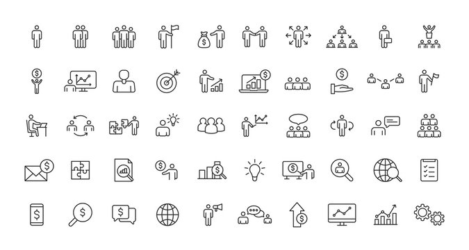 Set of Teamwork and Business people web icons in line style. Team Work, people, support, business. Vector illustration.