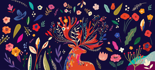 Fototapete - Beautiful spring creative art work illustration with flowers and deer