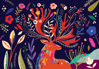 Fototapete - Beautiful spring art work illustration with flowers and deer