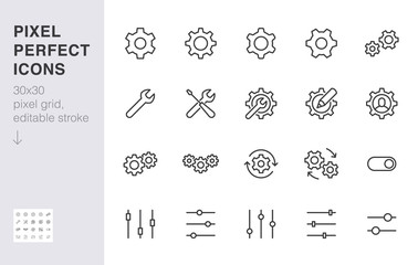 Gear, cogwheel line icons set. App settings button, slider, wrench tool, fix concept minimal vector illustrations. Simple flat outline signs for web interface. 30x30 Pixel Perfect. Editable Strokes