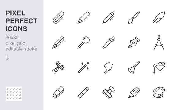 Drawing tools line icons set. Pen, pencil, paintbrush, dropper, stamp, smudge, paint bucket minimal vector illustrations. Simple outline signs for web interface. 30x30 Pixel Perfect. Editable Strokes