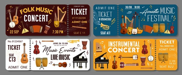 Live music concert event tickets templates. Vector classic orchestra, folk acoustic concert and jazz sound band festival tickets with African and Japanese music instruments piano, violin and drums Fotomurales