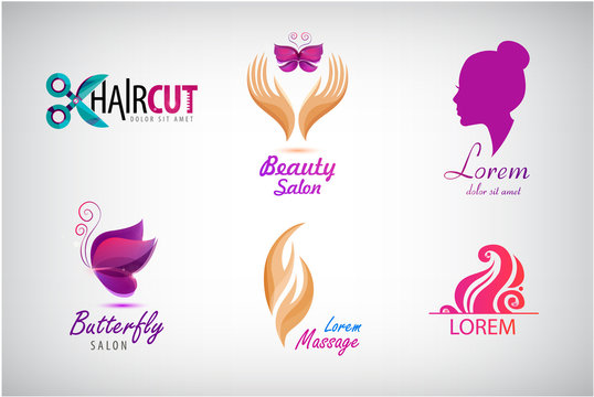 Vector set beauty salon logos, massagem spa icons. Labels and badges for healthy life and wellness business. Vector illustrations for graphic and web design, for cosmetics, natural