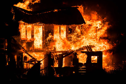 spectacular house fire at night