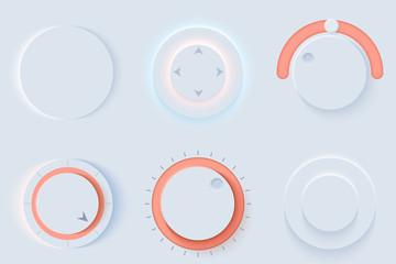Neumorphic UI circle Light color set. Workflow graphic elements in Skeuomorph Trend Design. Circular Elements for smart technology and applications. Editable Vector illustration.