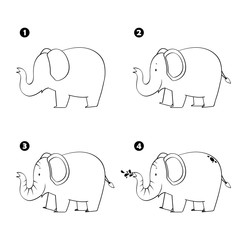 Four steps to draw cartoon elephant isolated on white background.