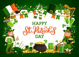 St Patrick leprechauns with green shamrock, beer and pot of gold vector design of Irish holiday. Clover leaves, golden coins and horseshoe, red bearded celtic elves with hat, Ireland flag and drum