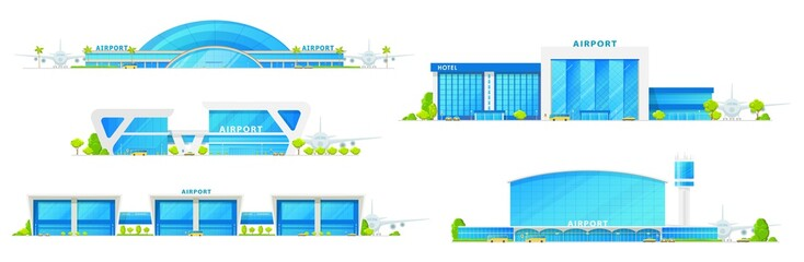 Airport glass facade terminal building icons, airplane runway and passenger terminal infrastructure. Vector isolated airport icons, public transport bus, metro and taxi cars