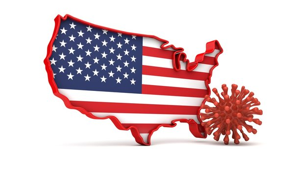 Map of United States of America with a virus microbe. 3D Rendering