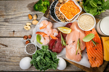 Selection of animal and plant protein sources - fish, meat, beans, cheese, eggs, nuts and seeds,...