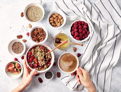 healthy breakfast oatmeal with raspberries, figs, chia and flax