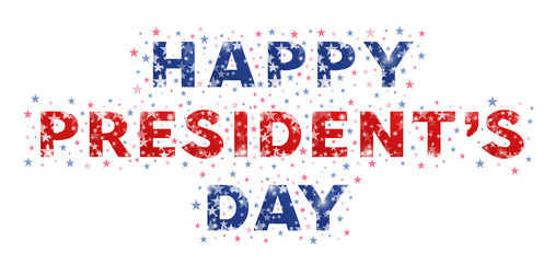 Happy Presidents Day. Typography of presidents day decorated with stars