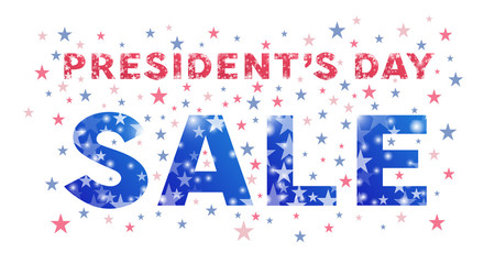 Presidents Day Sale banner. Typography of presidents day decorated with stars