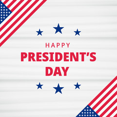 Happy Presidents Day. Festive banner background with american flag and text
