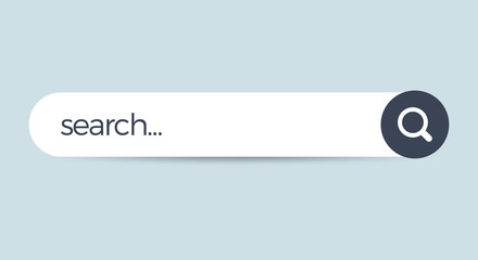 Search bar field. Vector interface element with search button. Flat vector illustration on white background.