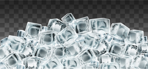 Many cubes of pure transparent ice. Highly realistic illustration.