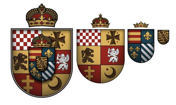 Set of ornate heraldic shields on white background.  High detailed realistic illustration