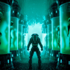Meeting your maker / 3D illustration of science fiction scene with astronaut inside futuristic alien laboratory filled with human clones