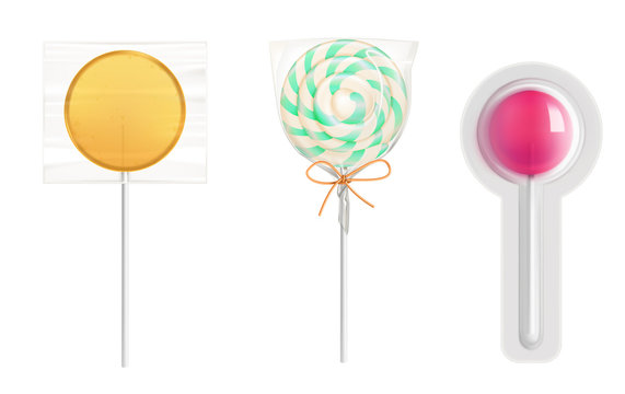 Lollipop candies in transparent plastic pack isolated on white background