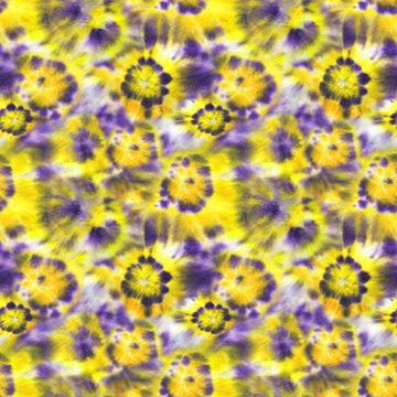 Tie dye shibori seamless pattern. Watercolour abstract flowers texture.
